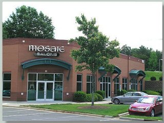 View of Mosaic Salons exterior with logo at 9215 Monroe Road, Charlotte North Carolina 28270